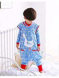 Недорогие -Мальчики Кровать Сплошной цвет Пижамы, Хлопок Зима Длинный рукав Классический и неустаревающий Синий Желтый Светло-синий