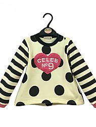 cheap -Girls' Solid Polka Dot Hoodie & Sweatshirt, Cotton Spring Fall Long Sleeves Simple Cute White Beige Khaki