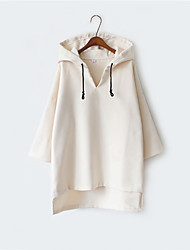 cheap -Women's Daily Hoodie Solid V Neck Micro-elastic Silk Long Sleeve Winter