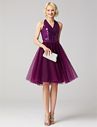 cheap -A-Line V Neck Knee Length Tulle Sequined Cocktail Party Dress with Sequin Sash / Ribbon by TS Couture®