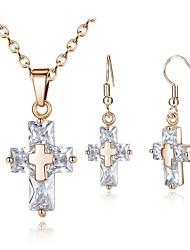 Недорогие -Жен. Серьги-слезки Ожерелья с подвесками Цирконий Простой Мода Повседневные Циркон Медь Крест 1 ожерелье Серьги
