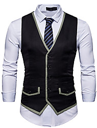 cheap -Men's Daily Work Casual Chinoiserie Spring Fall Vest,Color Block V Neck Sleeveless Regular Cotton