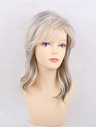 cheap -Human Hair Capless Wigs Human Hair Curly With Bangs Side Part Highlighted/Balayage Hair Medium Machine Made Wig Women's