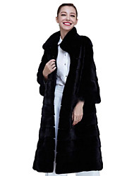 cheap -Women's Daily Simple Winter Fur Coat,Solid Stand Long Sleeve Long Fox Fur