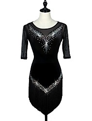 cheap -Latin Dance Dresses Women's Performance Velvet Crystals/Rhinestones Half Sleeve High Crystal
