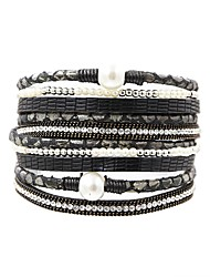 cheap -Women's Wrap Bracelet , Vintage Elegant Fashion Pearl Leather , Jewelry Daily Going out Costume Jewelry Black Gray Brown Green