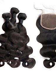 cheap -Brazilian Hair Body Wave Hair Weft with Closure 3 Bundles With  Closure Human Hair Weaves Natural Black Human Hair Extensions