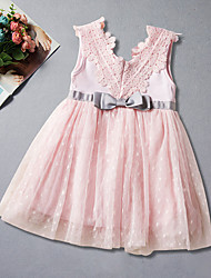cheap -Girl's Daily Going out Solid Jacquard Dress, Cotton Polyester Summer Simple Cute Active White Blushing Pink