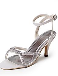abordables -Femme Chaussures Soie Printemps / Eté Escarpin Basique Chaussures de mariage Talon Bas Bout ouvert Strass Blanc / Mariage / Soirée & Evénement