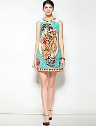 baratos -Mulheres Moda de Rua / Boho Evasê Vestido - Estampado, Floral Acima do Joelho