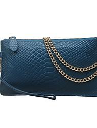 cheap -Women's Bags Cowhide Shoulder Bag Zipper / Pocket Black / Sky Blue