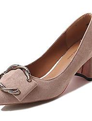 baratos -Mulheres Sapatos Borracha Primavera / Outono Conforto Saltos Salto Baixo Preto / Bege / Castanho Claro