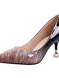 Недорогие -Жен. Обувь Полиуретан Весна Осень Удобная обувь Обувь на каблуках На шпильке для на открытом воздухе Серый Коричневый Красный
