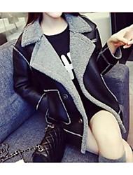 baratos -Mulheres Jaquetas de Couro Sólido Decote V Oversized