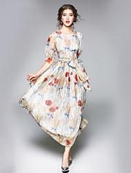 Недорогие -Жен. На выход Офис На каждый день Уличный стиль А-силуэт Платье Цветочный принт,Круглый вырез Макси 3/4 рукава Полиэстер Осень Нормальная