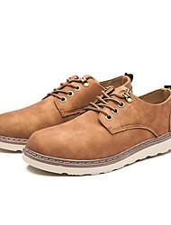 baratos -Homens sapatos Courino Primavera Verão Sapatos de mergulho Conforto Oxfords Drapeado Lateral para Casual Ao ar livre Cinzento Marron Khaki