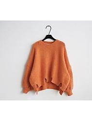 preiswerte -Damen Solide Lässig/Alltäglich Einfach Pullover Langarm Rundhalsausschnitt Winter Wolle