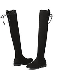 preiswerte -Damen Schuhe Samt Winter Komfort Stiefel Blockabsatz Runde Zehe Übers Knie Schwarz