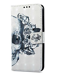 abordables -Funda Para Samsung Galaxy A8 2018 A8 Plus 2018 Soporte de Coche Cartera con Soporte Flip Magnética Diseños Funda de Cuerpo Entero Cráneos