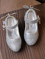 cheap -Girls' Shoes Sparkling Glitter Spring Fall Comfort Flower Girl Shoes Tiny Heels for Teens Heels for Casual Pink Silver Gold