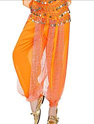 abordables -Danse du ventre Bas Femme Utilisation Mousseline de soie Paillette Taille basse Pantalon
