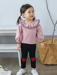 baratos -bebê Para Meninas Camisa Sólido Manga Longa Babydoll e Combinação Rosa Azul Marinha