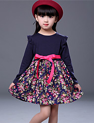 cheap -Girl's Party Daily Going out Holiday School Solid Floral Jacquard Dress, Cotton All Seasons Long Sleeves Simple Vintage Cute Black Red