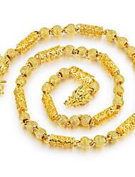 Недорогие -Муж. Позолота Ожерелья-цепочки - Позолота Сталь Титан Хип-хоп Мода Рок , Ожерелье Назначение Повседневные Для улицы