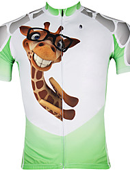 cheap -ILPALADINO Men's Short Sleeves Cycling Jersey - White/Green Cartoon Animal Bike Jersey, Quick Dry, Ultraviolet Resistant, Breathable,