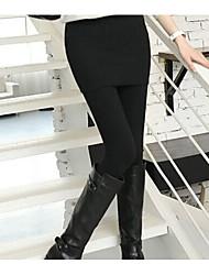 preiswerte -Damen Dick Polyester Solide Einfarbig Legging,Schwarz Grau