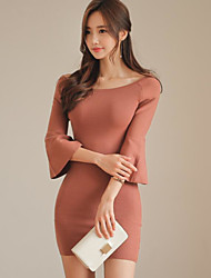 cheap -Women's Going out Simple Trumpet/Mermaid Above Knee Dress, Solid Round Neck 3/4 Length Sleeves Winter Spring