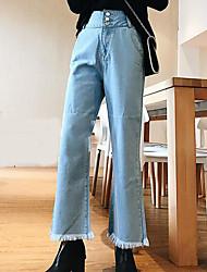 cheap -Women's Mid Rise Micro-elastic Wide Leg Jeans Pants,Simple Wide Leg Jeans Solid