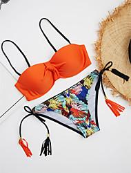 abordables -Femme Couleur Pleine Bikinis Maillots de Bain Orange Jaune