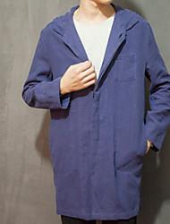 Jednobarevné Denní Na běžné nošení Kabát-Zima Podzim Bavlna Do V Dlouhé rukávy Dlouhé Velkoformátové