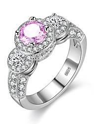 preiswerte -Damen Bandring Kubikzirkonia 1pc Leicht Rosa Zirkon Silber Geometrische Form Retro Grundlegend Modisch Hochzeit Verlobung Modeschmuck