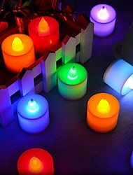 cheap -1set Candle Light Cold White RGB Pink Red Blue Yellow Green Button Battery Powered Romantic Decoration