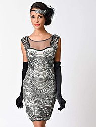 cheap -1920s The Great Gatsby Costume Women's Flapper Dress Black Beige Vintage Cosplay Polyster Short Sleeves Cap