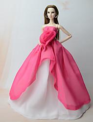 abordables -Robes Robe Pour Poupée Barbie Rouge Rose Mousseline de soie Robe Pour Fille de Jouets DIY