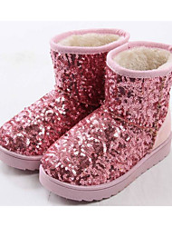cheap -Girls' Shoes Paillette Fabric Winter Fall Snow Boots Comfort Boots Booties/Ankle Boots for Casual Black Silver Blue Pink Champagne