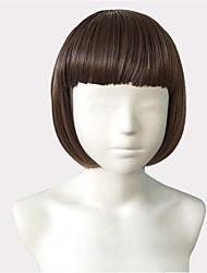 abordables -Pelucas sintéticas Liso Natural Corte Bob / Con flequillo Pelo sintético Entradas Naturales Marrón Peluca Mujer Corta Sin Tapa