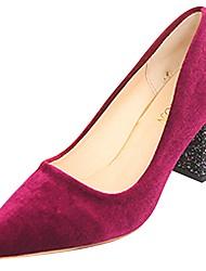 Недорогие -Жен. Обувь Полиуретан Зима Удобная обувь / Армейские ботинки Обувь на каблуках Блочная пятка Заостренный носок Черный / Вино