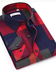 cheap -Men's Casual Cotton Shirt - Color Block / Long Sleeve