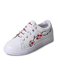 preiswerte -Damen Schuhe PU Herbst Komfort Sneakers Flacher Absatz Runde Zehe für Normal Schwarz Rosa