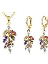 cheap -Women's Crystal Jewelry Set - Crystal Leaf Classic, Fashion Include Drop Earrings / Necklace Gold For Daily