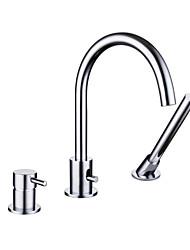 Недорогие -Смеситель для ванны - Современный Хром Ванна и душ / Одной ручкой три отверстия