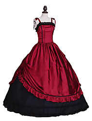 abordables -Rococo Victorien Costume Robes Rouge/noir Vintage Cosplay Satin Stretch Sans Manches