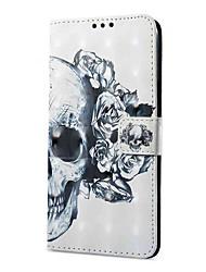 abordables -Coque Pour Xiaomi Note Redmi 5A Redmi Note 4X Porte Carte Portefeuille Avec Support Clapet Magnétique Motif Crânes Dur pour