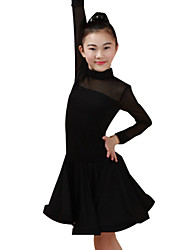 cheap -Latin Dance Dresses Performance Nylon Ruching Long Sleeves High Dress