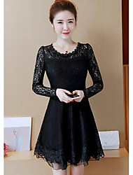cheap -Women's Going out Simple Sheath Lace Dress,Solid Round Neck Above Knee Long Sleeve Cotton Spring Fall Mid Rise Micro-elastic Opaque