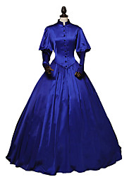 abordables -Victorien Rococo Costume Femme Adulte Robes Bleu Ciel Vintage Cosplay Satin Stretch Manches Longues Longueur Cheville
